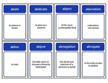 SAT Vocabulary Words Flashcards + Vocabulary List Bundle