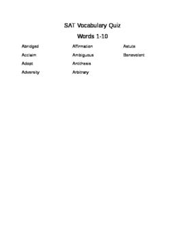 SAT Word Quiz #1