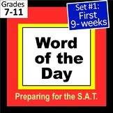 S.A.T. Word of the Day PPT and Task Cards Set 1