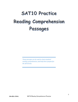 SAT 10 Reading Comprehension Practice Passages First Grade by ...