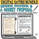 """SATIRE BUNDLE: Quizzes Essays Activities """"A Modest Proposa"""
