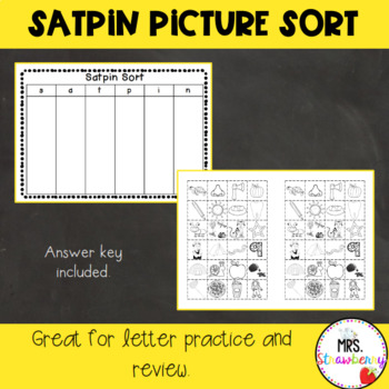 Satpin Picture Sort Activity By Mrs Strawberry Tpt