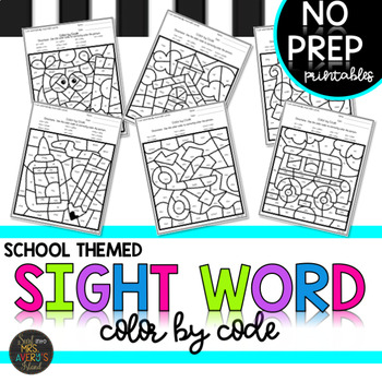 K-5 Back to School Themed Sight Words Color by Code Bundle