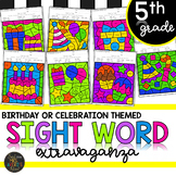 Fifth Grade Sight Words Color by Code Birthday Theme Celebration Activities