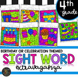Fourth Grade Sight Words Color by Code Birthday Theme Celebration Activities