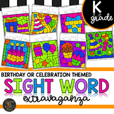 Kindergarten Sight Words Color by Code Birthday Theme Celebration Activities