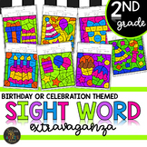 Second Grade Sight Words Color by Code Birthday Theme Celebration Activities