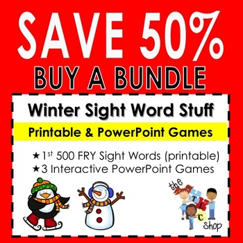 {SAVE 50%} WINTER SIGHT WORD BUNDLE