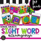 First Grade Sight Word Activities Color by Code School Subjects Back to School