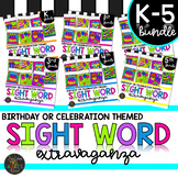 K-5th Grade Sight Words Color by Code Birthday Theme Celebration Activities
