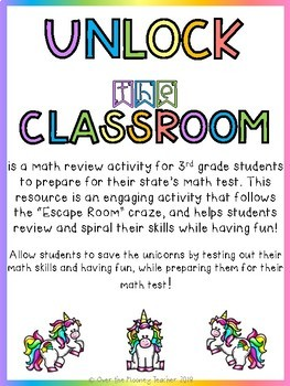 SAVE THE UNICORNS: Third Grade Math Back to School Escape Room