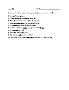 SAVOIR vs. CONNAITRE : quiz