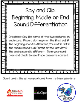SAY AND CLIP: Sound Differentiation-Beginning, Middle or End