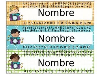 SAY CHEESE EDITABLE NAME TAGS /NAMEPLATES (SPANISH)