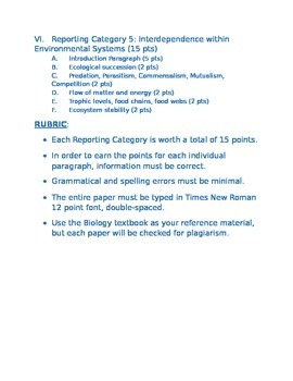 SB 149 Biology Senior portfolio project 2 with explicit instructions and rubric