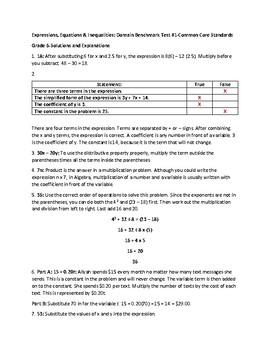 6th Grade Math Test-Prep:(SBAC, PARCC, TCAP):Expressions & Equations Assessment