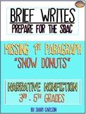 "SBAC Brief Write: NARRATIVE ~ No INTRO ~ ""SNOW DONUTS"" ~ 3rd-5th ~ PDF & ONLINE"