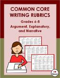 SBAC & Common Core Aligned Argument, Explanatory & Narrative Writing Rubrics 6-8