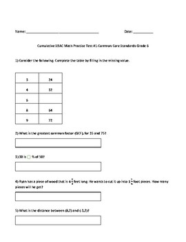 6th Grade Math Test Prep: (SBAC, PARCC, TCAP): Year-End Practice Assessment