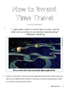 "SBAC ELA Test Prep~1 Narrative~PROMPTS to PARAGRAPHS ""HOW TO INVENT TIME TRAVEL"""