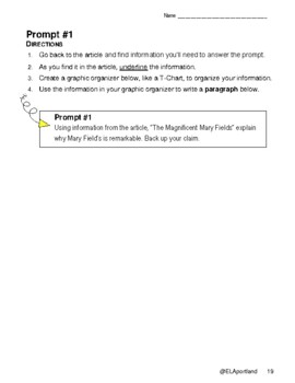 """SBAC ELA Test Prep~1 Article~PROMPTS to PARAGRAPHS~ """"MAGNIFICENT MARY FIELDS"""