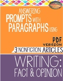 SBAC Test Prep READING 2 Articles~Use PROMPTS to Write PARAGRAPHS-FACT & OPINION