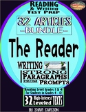"SBAC ELA Test Prep BUNDLE ~ PROMPTS TO PARAGRAPHS ~ 32 Articles ~ ""THE READER"""