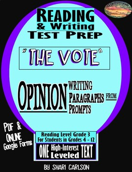 "SBAC ELA Test Prep ~FACT & OPINION~ PROMPTS TO PARAGRAPHS ""THE VOTE"" ~"