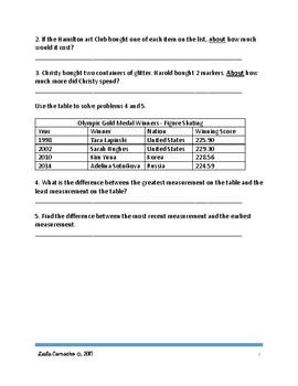SBAC Math Grade 4 Art Club Task