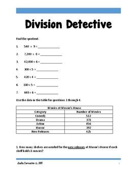 SBAC Math Grade 5 Division Detective Task