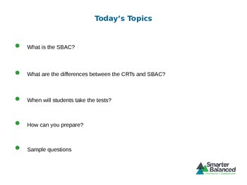 SBAC Introduction Powerpoint- Difference between SBAC and CRT