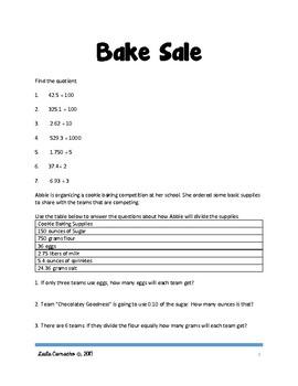SBAC Math Grade 4 Bake Sale Task
