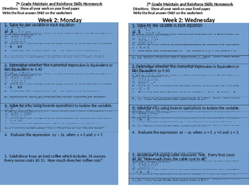 SBAC Modeled Weekly Questions Wk 2