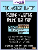 """SBAC Test Prep ~ 1 ONLINE Text, """"THE NASTIEST HUNTER"""" ~ Character Traits"""