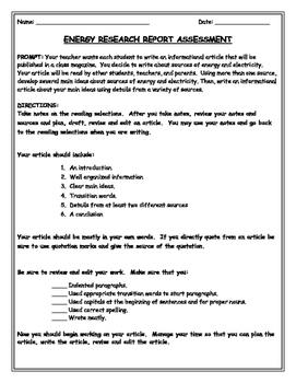 SBAC PREP  ENERGY: TEXT-BASED INFORMATIVE WRITING INTERMEDIATE