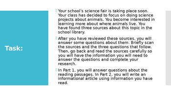 SBAC Performance Task: Animals and Their Surroundings
