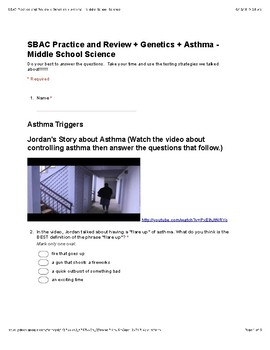 SBAC Practice and Review for Middle School Science: Genetics and Asthma
