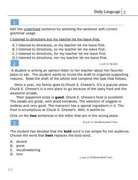 SBAC Prep - 3rd Grade Daily Language (weeks 11-13)