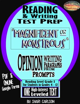 """SBAC Reading & Writing Test Prep ~ FACT & OPINION """"MAGNIFICENT or MONSTROUS""""~"""