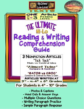 SBAC Test Prep ~ 3 Articles ~ Each at 3 Levels