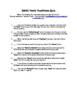 SBAC Tools True/False Quiz
