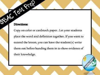 SBAC PARCC STARR Vocabulary Test Prep Puzzle Game