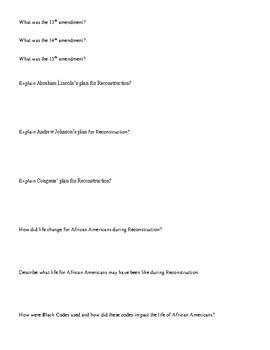 SC 5th grade Reconstruction study guide