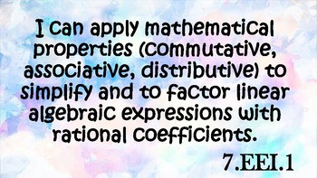 SC 7th grade I can Statements: Expressions, Equations & Inequalities