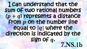 SC 7th grade math I can Statements (Number Systems)