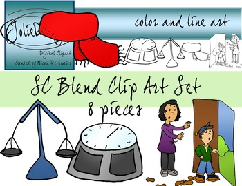 SC Blend Phonics Clip Art Set - Color and Line Art 8 pc set