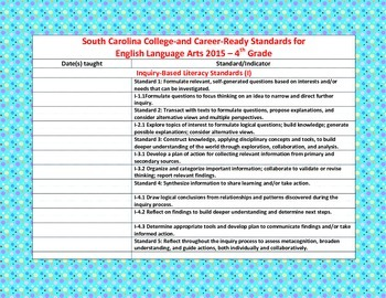 SC College-and Career-Ready Standards for ELA 2015-2016 –