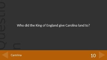 South Carolina Colony/Slavery Jeopardy Game