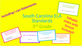 """SC ELA Standards and """"I can"""" Statements"""