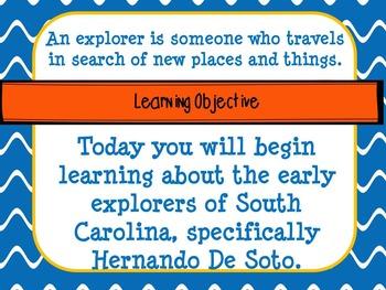 SC Explorers Unit: PowerPoint, lesson plans, graphic organizers, and test